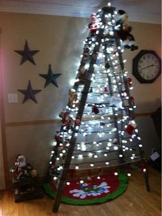My christmas tree lit up. Ladder Christmas Tree, Christmas Tree Light Up, Christmas Stuff, Christmas Holidays, Christmas Decorations, Holiday Decor, Winter Wonder, Tree Lighting, Clever