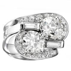 SUZANNE BELPERRON A Diamond and Platinum 'Twin' Ring