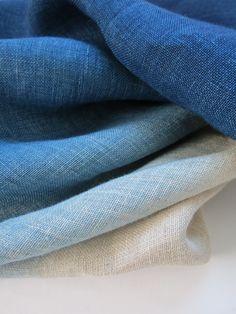 dyed linen ~ shades of blue Love Blue, New Blue, Blue And White, Pantone, Azul Indigo, Indigo Blue, Textiles, Casamance, Cotton Sheets