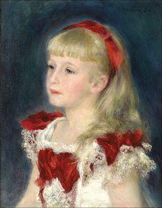 1880 Pierre-Auguste Renoir (French Impressionist, 1841-1919) ~ 'Mademoiselle Grimprel au ruban rouge' (Hélène Grimprel)