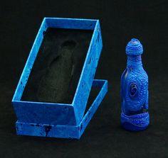 Fles blauw Bottle blue van PolyGlassArt op Etsy