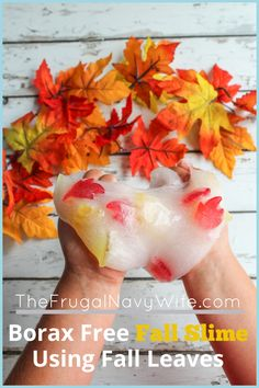 My kids love slime sometimes a little much. We are getting ready for fall so made this borax free fall slime. It's super easy and fun! #slime #frugalnavywife #fall #autumn #kidsactivity #slimerecipe  | Easy Kids Activity | Slime Recipe | Fall Kids Activity | Borax Free Slime | Fall Kids Activities | Fall Leaves Activities | Easy Kids Crafts | Easy Slime How To Sensory Activities Toddlers, Autumn Activities For Kids, Easy Crafts For Kids, Craft Activities, Diy Crafts, Sensory Play, Kids Diy, Preschool Ideas, Decor Crafts