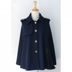 $39.99 Long Sleeves Single-breasted Pockets Leash Embellished Cape-style Casual Women's Coat