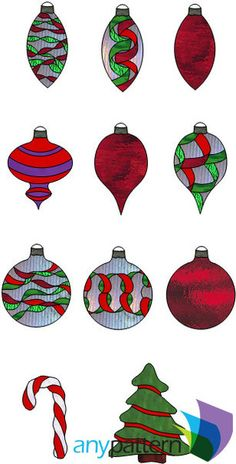 Christmas Ornament Ribbon Collection stained glass pattern, intermediate skill level