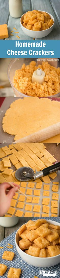 Copycat Cheese-its. If you can eat a whole box in one sitting then this homemade Cheese Cracker recipe is for you. They taste just like the real deal but half the price! Homemade Crackers, Homemade Cheese, Homemade Cheez Its, Snacks Homemade, Baby Food Recipes, Snack Recipes, Cooking Recipes, Celiac Recipes, Free Recipes
