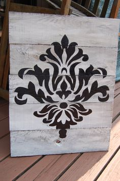 Shabby Chic Hand Painted Damask Design Sign Made with Pallet Boards