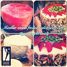 Had to try the infamous #glutenfree #paleo #watermeloncake iced with #micellarcasein and topped with #almonds #kiwi and #strawberry for a fresh take on dessert for summer while keeping it clean!!! gaugegirl #gaugegirltraining #onlinecoach #foodscience #nutrition #mealplan #12weekplan #beforeandafter #progress #progresspic #mgnstore #musclegaugenutrition