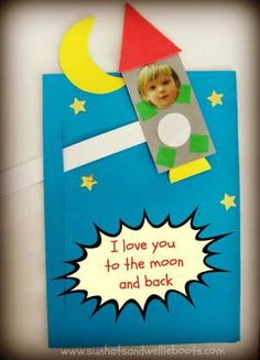 """Use your kids picture to make a cute Father's Day rocket card craft like this for Dad. The rocket moves up and down. Add the massage, """"I."""