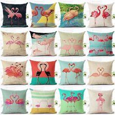Vintage Home Decorative Flamingo Printed Throw Pillow Square Birthday Gift Cushion Cover Decor Almofadas Pillowcase Cojines Flamingo Decor, Pink Flamingos, Flamingo Gifts, Kitsch, Pink Bird, Tropical Decor, Easy Home Decor, Throw Cushions, Scrappy Quilts