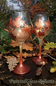 Autumn set of 2 Maple Leaves toasting by PaintedGlassBiliana