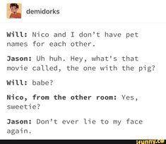 Jason's such a FRICKEN SMARTASS! WOOH GO JASON- hahahaha I don't like solangelo but I love this and jason