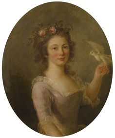 Attributed to Marie-Victoire Lemoine  Paris 1754 - 1820  YOUNG GIRL WITH A BIRD