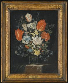 Follower of Peter Binoit - STILL LIFE OF TULIPS, FORGET-ME-NOTS, FRITILLARIES AND OTHER FLOWERS IN A VASE ON A MARBLE LEDGE | sotheby's