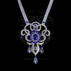 Ricardo Douaihi Lapiz Lazuli Silver Lace Baroque Necklace (RD213) | Alexandra May Jewellery