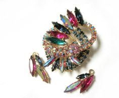 Vintage Stunning Aurora Borealis Rhinestone Brooch by SoBejeweled, $55.00