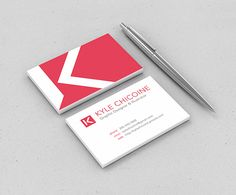 Here's a really nice set of simple single color business cards. The designer shows a good use of negative space with the K on the red box, and also shows good awareness of space and flow as seen on the back side of the card that has all the information. The eye is pulled nicely across the image and there isn't any fighting going on.