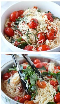 20 Minute Cherry Tomato and Basil Angel Hair (angel hair pasta recipes alfredo) Vegetarian Recipes, Cooking Recipes, Healthy Recipes, Meatless Pasta Recipes, Vegetarian Diets, Meat Recipes, Healthy Meals, Healthy Food, I Love Food