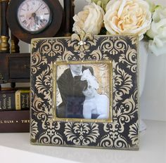 Photo Frame Black Ivory Damask Gold Fleur-de-lis Swarovski