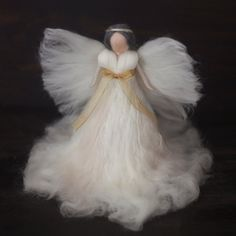 Needle Felted-Large Tree topper Angel White-Silk by FeltandGrain