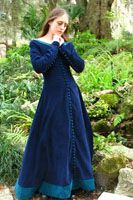 This medieval blue and turquoise dress is really pretty. It's shown with and without a London hood.