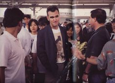 Morrissey at a railway station in Nagoya, Japan during his Kill Uncle Tour (1991) -- photo by Kevin Cummins.