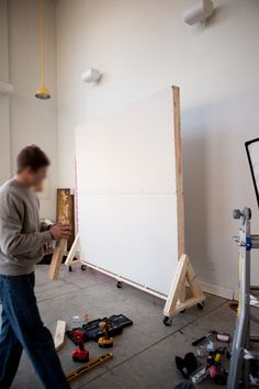 DIY Homasote moveable walls for our studios