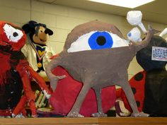 """Paper mache monsters using newspaper... Do after Halloween... have the students think of a """"job"""" for their monster to do now that they can't scare people. Good way to tie in language arts!"""