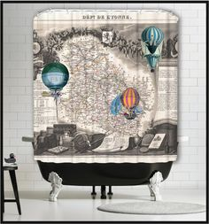 Map Shower Curtain - Hot Air Balloons Shower Curtains - Wine Map Shower Curtains - Steampunk Home Decor - Steampunk Art - Old World Map by MySillyPoni Steampunk Home Decor, Steampunk House, Coastal Living Magazine, Country Living Magazine, Air Balloon, Balloons, Old World Maps, Antique Illustration, Room Accessories