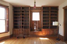 Built-in Library Bookshelves and Rolling Library Ladder #makingitlovely