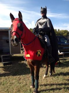 Batman riding Robin! lol no just me and Salty in a costume contest.