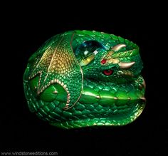 Emerald Dragon   Curled Dragon in Emerald to match the retired Emerald colored dragons ...