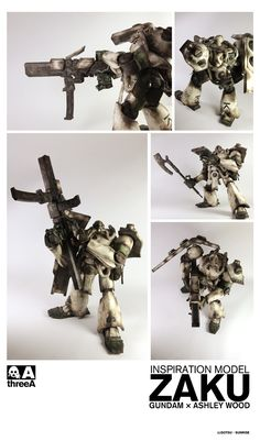 Ashley Wood and Bandai Gundam Zaku Ashley Wood, Frame Arms, Mecha Anime, Film Inspiration, Gundam Model, Designer Toys, Comic Book Artists, Sculptures, Illustration