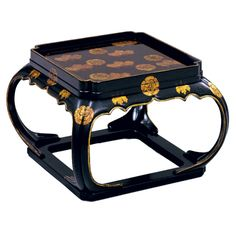 "Erika Brunson Late sixteenth century Kakeban style box-legged tray table with raised gold chinoiserie decoration  Dimensions      24""w x 24""d x 14""h"