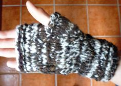 Hand knitted fingerless gloves, mittens using hand spun Jacob sheep wool by RebeccasWool on Etsy