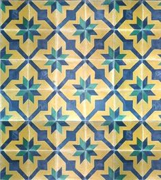 Athangudi tile - Brilliant design of stars in green - Per sq feet price - PC - 3649