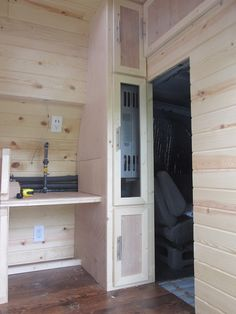 This is part three; here is part one and part two (it's been awhile). I started this morning by paneling the side of the water heater closet. To avoid having any extra seams, I cut what I cou…