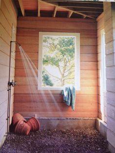 Indoor-outdoor shower.