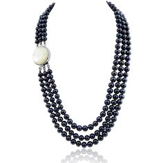 """3-row 6.5-7.5mm Black Freshwater Cultured Pearl Necklace Mother-of-Pearl base metal Clasp 17.5"""",18.5""""/20"""". 3-row Black Freshwater Cultured Pearl Necklace with Mother of Tahiti Pearl (white) rhodium plated base metal Clasp(6.5-7.5mm), 19"""",20""""/21"""". Classic style. Great for Any Occasions. See """"Special Offers & Product Promotions"""" below for our current coupon offers. Free gift promotions require that the free gift item be added to your cart plus you must apply the coupon code during checkout...."""