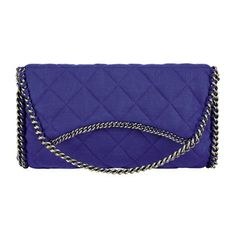 Chanel Spring Summer 2013 Chanel metal chain navy blue fabric side Wristlet