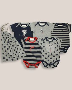 Pack of 5 Navy Blue Bodysuits/Vests - Baby Boys Clothes