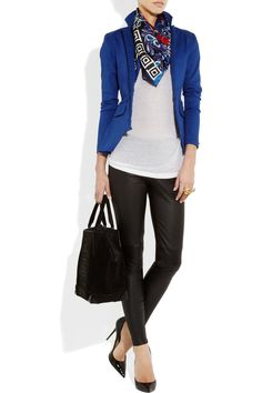 Versace scarf, Preen Line blazer, Kain top, Victoria Beckham Denim leggings, Alexander Wang bag, Jimmy Choo shoes
