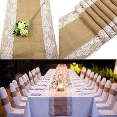 Girl12Queen Vintage Rustic Lace Trim Natural Jute Table Runner Cloth for Wedding Decoration #weddingrustic