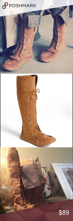 "UGG Somaya Womens Boots Adorable UGG Somaya Moccasin Boots. lightweight tall boot with a lace-up front and kiltie accents. Fold the cuff down & let the tweedy lining peek out for a couture twist on classic moccasin style. 15"" boot shaft; 14"" calf circumference (approx).  Lace-up. partial side-zip closure. Genuine sheepskin. rubber sole. Sheepskin may be sourced from Australia, China, Italy, New Zealand, Spain or USA. See packaging for confirmed country of origin. By UGG Australia; imported…"