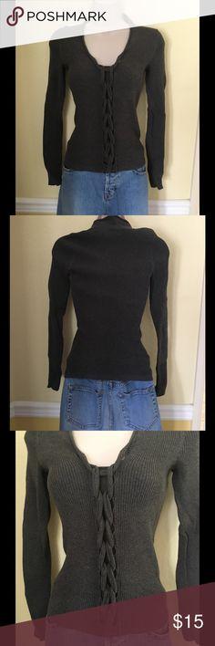 Victoria's Secret dark gray long sleeve sweater, S Victoria's Secret dark gray sweater with unique braid effect going down the center front. Size small, 100% cotton. Victoria's Secret Sweaters V-Necks