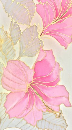 Hand Painted Silk Scarf, Japanese Silk Scarf, Yellow Scarf, Small Pink Silk Scarf, Pink and gold Haw - Designs - Pink And Gold Wallpaper, Pink And Gold Background, Flower Phone Wallpaper, Iphone Background Wallpaper, Carillons Diy, Silk Art, Fabric Painting, Pattern Wallpaper, Hand Painted