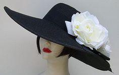 "Black 6"" Brim / White Roses Derby hat"