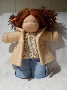 Waldorf Doll Clothes: Upcycled Felted Wool Hooded Coat