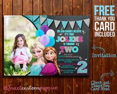 *Disney Frozen birthday party photo invitation - customized with your photo and party information!*    By purchasing this listing you will