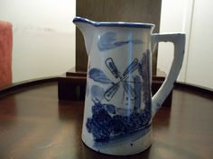 Vintage 1950's Holland Blue And White Pitcher. $20.00, via Etsy.