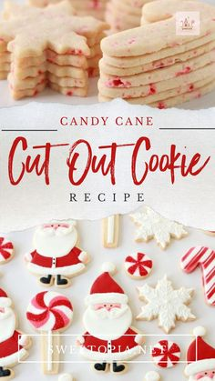 Candy Cane Cut Out Cookie Recipe Recipe for Candy Cane Cut Out Cookies<br> Just a taaaad bit early, I hope you can forgive me for sharing my jolly St. Nick cookies with you in early November! I plan hope to be sharing my Christmas sweets with you weekly Christmas Sugar Cookies, Christmas Sweets, Holiday Cookies, Holiday Treats, Christmas Baking, Christmas Cookies Cutouts, Homemade Christmas, Summer Cookies, Valentine Cookies